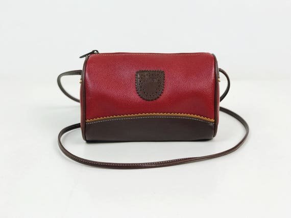 90's ESPIRIT Basic Crossbody Everyday Purse - Red Brown Pocketbook With Long Strap - Small Basic Purse 1990's Preppy Hipster Vintage Bag