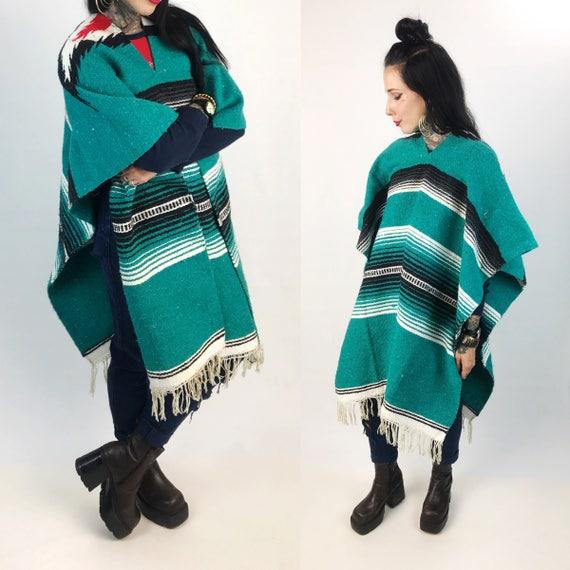 Vintage Southwestern Mexican Falsa Blanket Poncho Woven Unisex - Vintage Teal Green Striped Hippie Boho Poncho Blanket Winter Outerwear