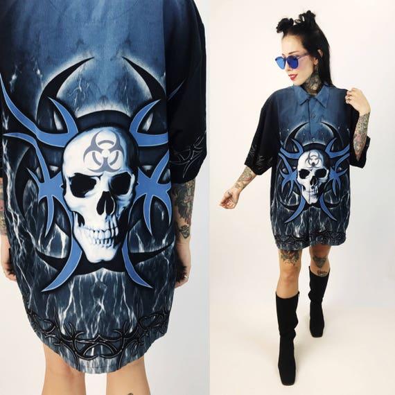 90's BIOHAZARD Blue Flaming Skull Mens Button Down Short Sleeve Shirt Large - Blue & Black Flames Cyber Grunge Club Shirt - Button Down 90s