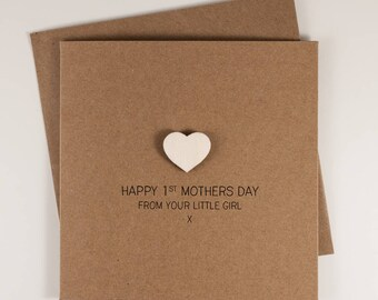 Happy 1st Mothers Day from your Little Girl Card with Wooden magnetic Love Heart Keepsake // From Daughter // First Mothers Day