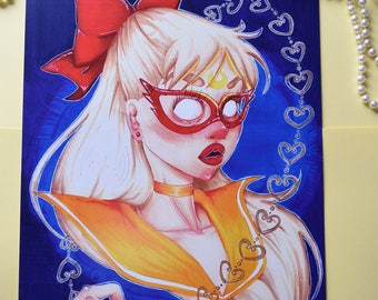 Monstrous Venus - 11x17 Sailor Venus Minako Creepy Surreal Love and Beauty Chain Sailor Moon Anime Inspired Art Poster Print