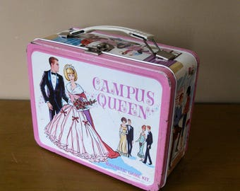 1967 CAMPUS QUEEN metal lunch box -Thermos Division -King Seeley Thermos Co -school lunch box -retro -collectible -magnetic game kit on back