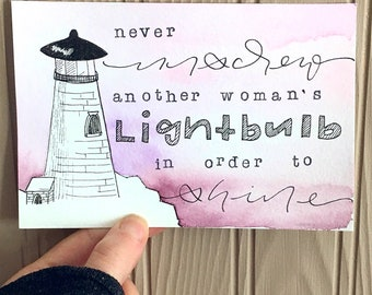 "4x6 Original Watercolor ""Never Unscrew Another Woman's Lightbulb"" Lighthouse Scene"