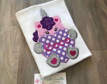 Unicorn heart birthday shirt