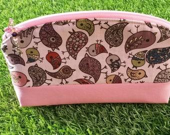 Pink Make-up bag with Bird Design, Makeup Bag, Cosmetics Bag, Zip Pouch, Pink Bird Bag, Gift for Her, Wedding Make-up Bag, Handmade