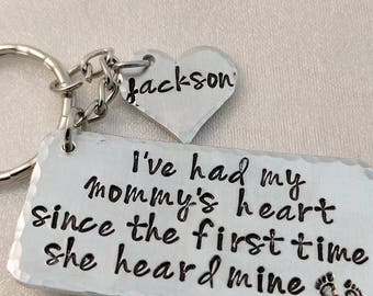 Mommy Keychain - Baby Shower Gift - New Mom Gift - Gift for Mom - Baby Feet Design - Personalized Mom Keychain - To Mom from Child Gift