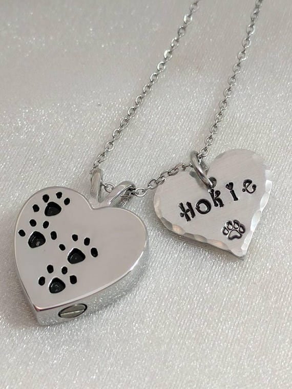 Pet Loss Gift  - Pet Memorial - Sympathy Gift-  Personalized Pet Urn - Pet Remembrance Necklace - Pet Urn - Paw Print Urn - Loss of Pet Gift