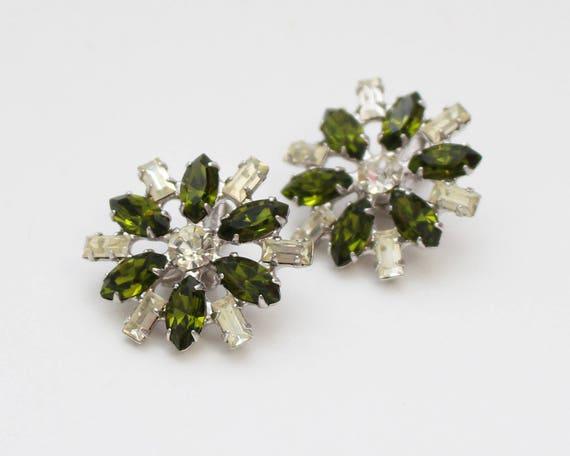 Green Rhinestone Flower Earrings - Vintage 1960s B David Clip Ons