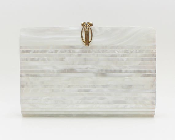 Vintage 1970s Mother of Pearl Shell Clutch