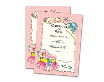 Printable pink baby doll birth certificate / instant download / digital scrapbooking / DIY baby doll adoption / fill in the blanks