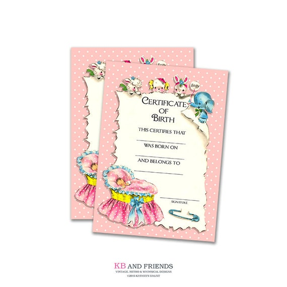 Printable pink baby doll birth certificate instant download digital scrapbooking diy baby for Baby doll birth certificate