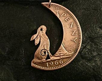 Hare pendant, Hare in the Moon,  Moon Gazing Hare, coin pendant, Rabbit necklace, British one penny coin. Bronze jewellery. Gift for her.