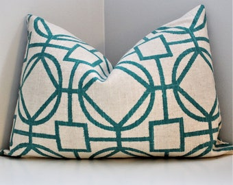 Luxury Pillow Cover - Turquois and Beige Linen Geometric Decorative Throw Pillow, Modern Transitional Designer Zippered Fabric Pillow Cover