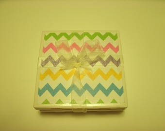 Easter Holiday Tile Coasters, Designer Tiles, Chevron, Home Decoration, Kitchen, Office, Livingroom, Dorm, 4 pc set