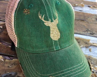 Oh Deer! Distressed Snapback Hat, Christmas, Holiday Cap, Hat