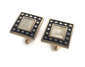 Cufflinks for men vintage Swank mother of pearl cuff links Black gold cufflinks for husband birthday Square geometric mens accessories