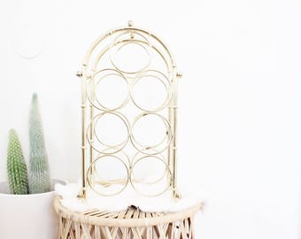 Vintage Wine Rack Brass Bamboo Wine Storage Hollywood Regency Boho Home Decor Kitchen Bar