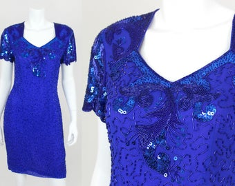 Vintage Sequin Dress Blue Morgan Taylor Size 8P Short Fitted Cocktail Party Evening Gown Beaded
