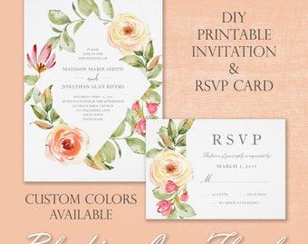 Spring Floral Printable Wedding Invitation | DIY Printable Wedding Suite