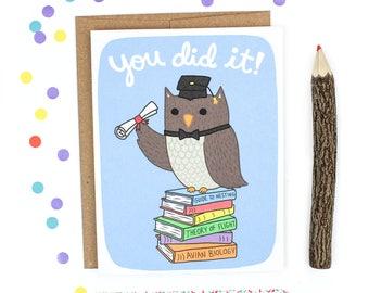 Funny Congrats Card, Card for Grad, Owl Grad Card, You Did It Card, Graduation Card, Funny Graduation, Congratulations Grad Card, Owl Card