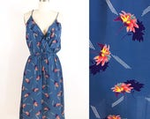 70s Floral Surplice Dress / 1970s Blue Ruffle Bodice Vintage Dress