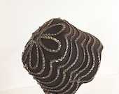 Vintage Brown Wool Cloche Hat / Wool Sequin 20s style Hat / 1970s Felt Hat Medium