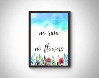 Motivational print, inspirational printable quote, no rain no flowers, motivational wall decor, inspirational print, office decor, wall art