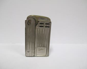 Vintage Regens Squeeze Cigarette Lighter, 1940s or 30s Silver Pocket Lighter, Tobacciana Collectible, Made In USA Pat No 1896140