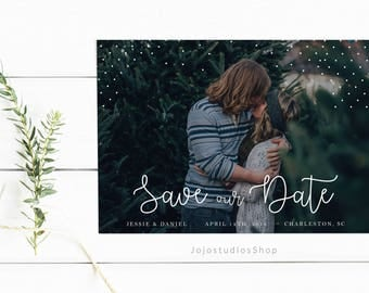 Printable Wedding Save the Date Download, Wedding Template, Whimsical Save the Date Templates, Calligraphy Save the Date with Photo, sd008