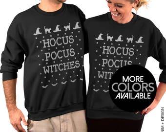 Hocus Pocus Witches - Unisex Crew Neck Sweatshirt for Men & Women, Halloween Costume Sweater, Women's Clothing, Black Cats, Wicca Witchcraft