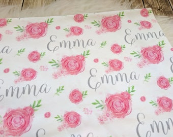 Personalized pink rose baby name swaddle blanket set: baby and toddler personalized name newborn hospital gift baby shower gift