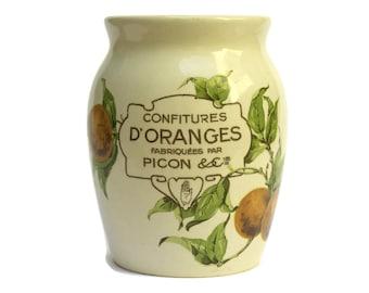 Antique French Faience Confiture D'Orange Jam Pot. Rustic Pottery Jam Crock.