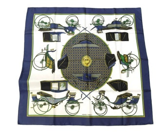 Authentic Vintage Hermes Silk Scarf Les Voitures a Transformation. Hermès Carré Foulard 90cm x 90cm.