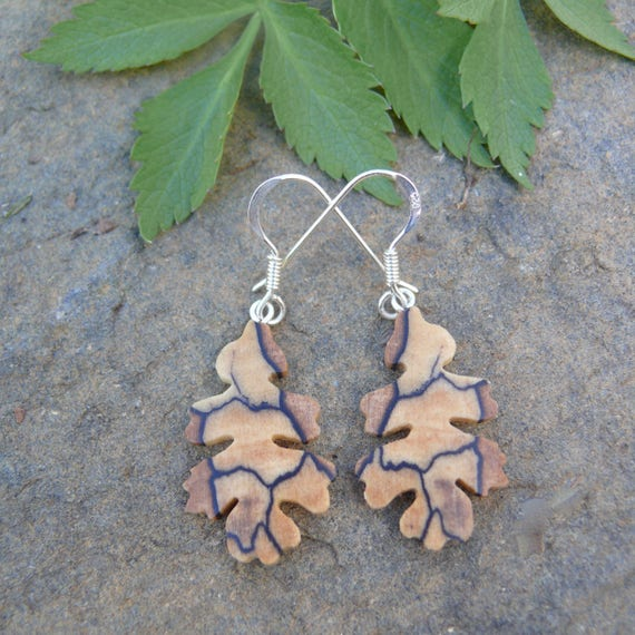 Wood Earrings, Small Oak Leaf earrings, Sterling Silver leaf earrings, Natural jewelry, Leaf Jewelry earrings, Earthy earrings, Nature lover