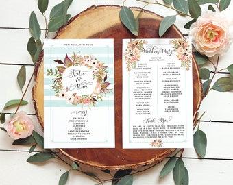 Floral Wedding Program - Mint Blue Programs - Garden Wedding - Summer Wedding Programs - Wreath Programs - Printable or Printed