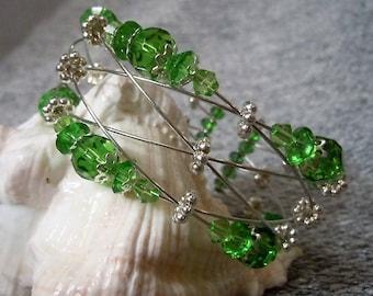 Round Emerald Irish Green Braided Wire Beaded Cuff Bracelet
