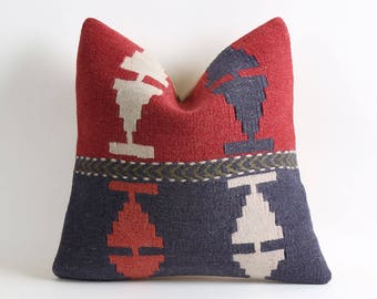 16x16 kilim pillow cover red blue kilim pillow cover wool pillow