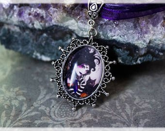 Purple Pendant, Gothic Jewelry, Witchy Gift, Silver Pendant, Purple Jewelry, Purple Jewelry, Gothic Fairy Pendant, Fairy Gift, Gothic Gift