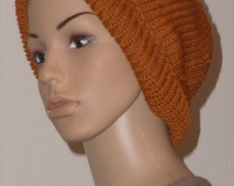 Knitted Beanie in bright red-brown