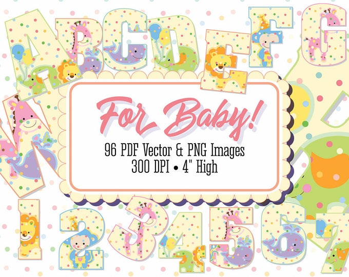 "Alphabet Clip Art, Digital Stamp, ""For Baby!"" Nursery Decor, Baby Shower, 96 PNG Files, PDF & Vector, 300 DPI. 4"" High"