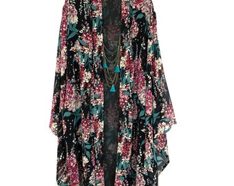Silk kimono, silk kimono robe, black silk robe, silk robe, kimono robe, full length robe, kimono robes, silk robes, silk kimono jacket