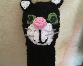 Adorable Knit Golf Club Cover - Kitty Cat in Black with Green Eyes and Pink Nose