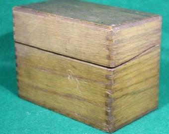 Vintage Solid Oak Finger Jointed Recipe Wood File Box