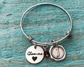 Glam-ma, Glam ma, Glamma, glamorous, Gorgeous, Grandma, Gifts for, Silver Bracelet, Charm Bracelet, Silver Jewelry, New Baby