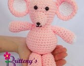 Pink Mouse Stuffed Animal  Crochet Pink Mouse Stuffed Animal  Crochet Plush Pink Mouse Toy  Gift for Baby Girl  Child's Pink Toy Mouse