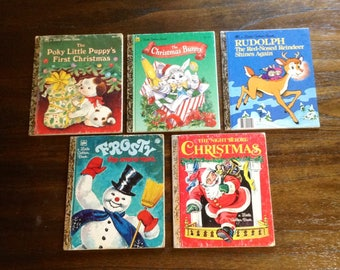 5 Christmas Little Golden Books - Holiday Childrens Books - Night Before Christmas, Poky Little Puppy, The Christmas Bunny, Frosty, Rudolph