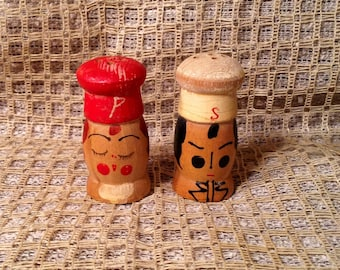 Vintage Wooden Salt & Pepper Shakers - Miniature Hand Painted Mr. Salt and Mrs. Pepper - Rustic Farmhouse, Country, Cottage Kitchen Decor