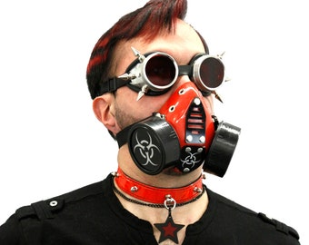 DSF Cyber Goth gas Mask - Grille & Bio respirator - DUAL CAN bio hazard costume halloween club pink blue red black white purple green 5457