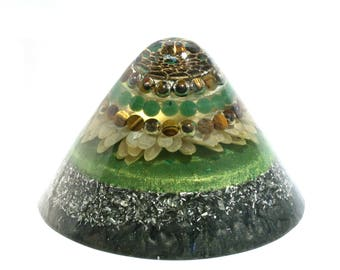 Tiger's Eye and Aventurine Orgone Cone - Energy Healing Spiritual Gift and Feng Shui Decor - Balance and EMF Protection
