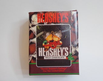 Vintage 1993 Hershey's Enesco Christmas Ornament Sweet Season's Eatings Chocolate Candy Bar Elves Limited Edition Collectible New in Box